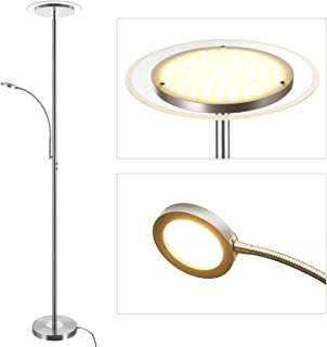 DEWENWILS 71 inches LED Torchiere Floor Lamp with Reading Light, Dimmable Pole Lamps, Glass Diffuser, Tall Standing Lamp for Office, Bedroom, Living Room, Compatible with Smart Plugs