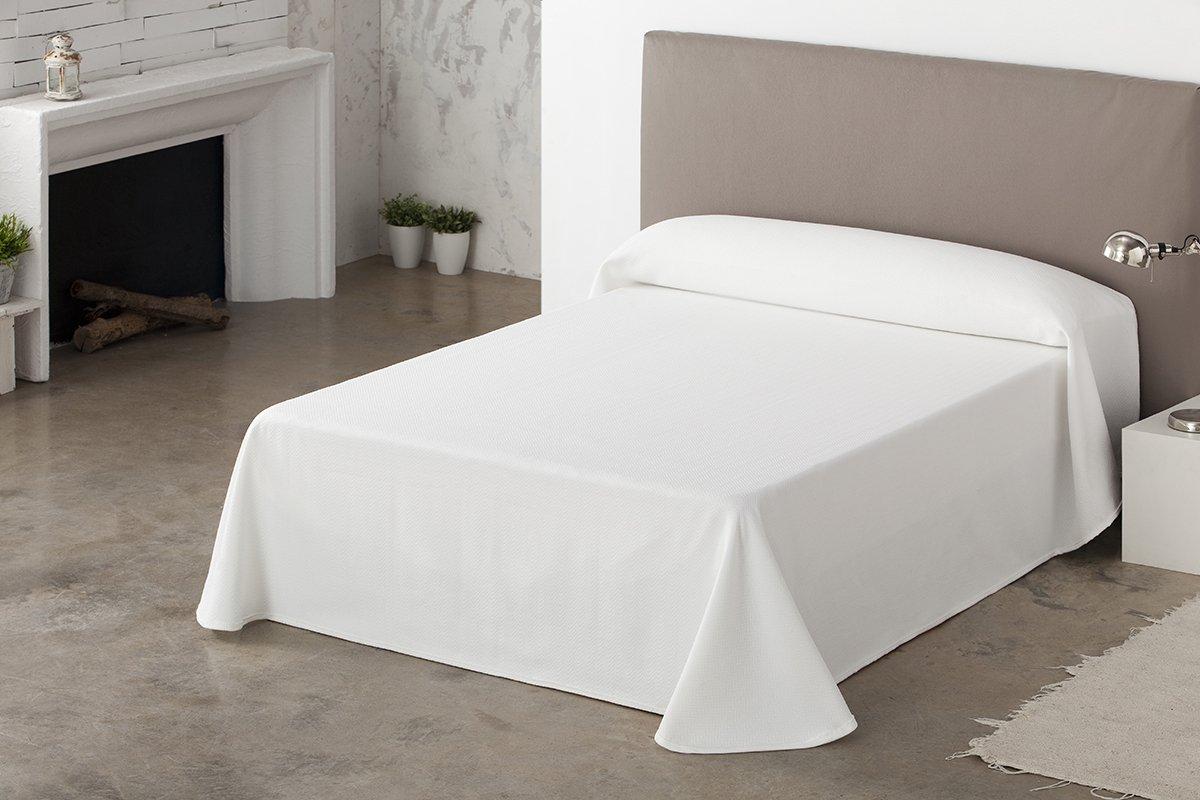 ESTELA - Colcha/Cubrecama Tejido Jacquard Vigo Color Blanco - Cama de 105 cm. - 50% Algodón/50% Poliéster: Amazon.es: Hogar