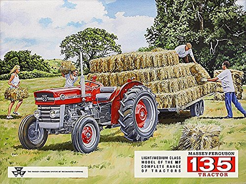 METAL MASSEY FERGUSON 135 WALL SIGN TIN PLAQUE GARAGE SHED TRACTOR GIFT FARMING