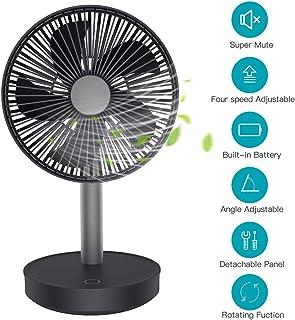 MANLI Ventilador USB Portátil Ventilador de Mesa Silencioso 13dB Potente Batería Recargable 4000mAh Ajustable en 4 Velocidades para Hogar,Oficina, Viaje,Camping,Cochecito de Bebé