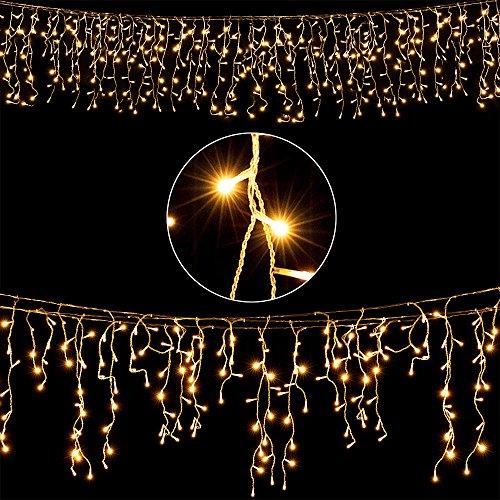 Deuba LED Lichterkette Regen 20m warmweiß 600 LED Innen Außen Lichterregen Regenlichterkette Weihnachtsdeko Weihnachten