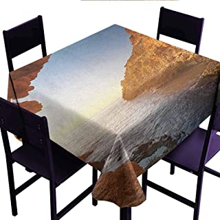 Bill Lloyd Decorative Table Cloth Beach,Sunset in Pacific Paradise Ocean Cave with Morning Horizon Stone Calm Seacoast Art,Cream Blue,for Events Party Restaurant Dining Table Cover 54