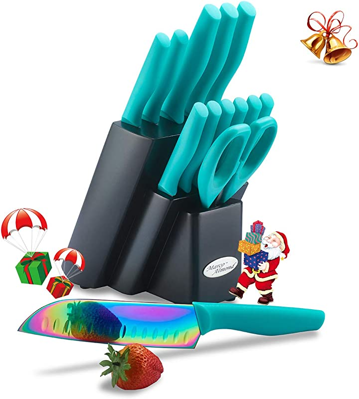 DISHWASHER SAFE Rainbow Titanium Cutlery Knife Set Marco Almond KYA27 Kitchen Knives Set With Wooden Block Rainbow Titanium Coating Chef Quality For Home Pro Use Best Gift 14 Piece Turquoise
