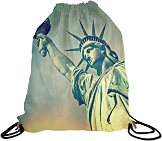 InterestPrint Statue of Liberty New York City Landmark School Travel Daypack Gym Bag, Polyester Basketball Drawstring Bags Backpack Waterproof - 16.5