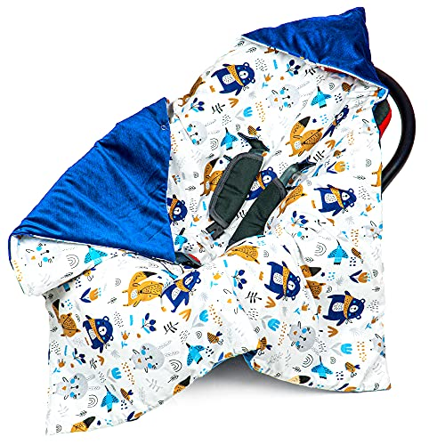 Coperta avvolgente per seggiolino 90x90 cm - coperta universale Velvet cotton Oeko-Tex (5. Velvet Blu Scuro Con Animali, Autunno /Inverno - 90 cm x 90 cm)