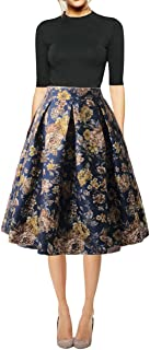 Women's Floral Midi Skirts High Waisted A-Line Cocktail Party Prom Skirt