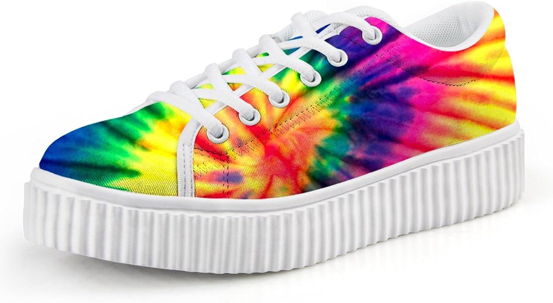 Chaqlin colorful Women Low Top Platform Fashion Sneaker Lace-up Flat Size 38