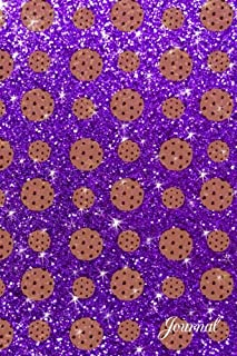Journal: Faux purple glitter chocolate chip cookies notebook