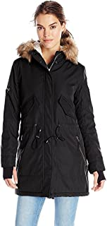 /NYC Women's Army Sherpa Lined Parka with Faux Fur Hood,Black,Small