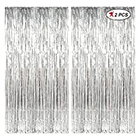 PACKAGE INCLUDES: 2PCs OF SILVER FOIL CURTAIN Size: 3FT By 6FT, 3Ft is Length and 6Ft is Height HANGING BACKGROUND SUPPLIES: Personalize a photo booth background with silver mylar fringes. The sticky adhesive strip to set the party decor on multiple ...