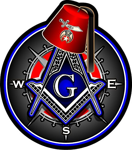 ProSticker 118V (One) Masonic Series Shriner Fez Freemason Compass Decal Sticker (4')