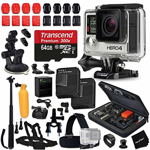 GoPro Hero 4 Black Edition Camera + 64GB High-Speed Memory Card + 2 AHDBT-401 Batteries + Dual Charger + Custom Fitted Case + Car Mount + Head Strap + Chest Strap + Selfie Stick + Bike Mount + More