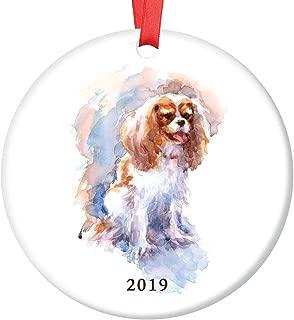 Spaniel Dog 2019 Christmas Ornament Beautiful Watercolor Cavalier King Charles Spaniel Ceramic Keepsake Present Family Lapdog Pet Adopted Puppy 3