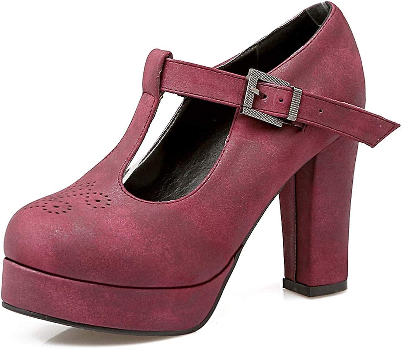 Vimisaoi Women's Platform Mary Janes Oxfords shoes Kitten Block Heel T-Strap Round Wingtip Dress Pumps shoes
