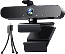 Webcam 2K HD Streaming Camera with Microphone USB PC Computer Web Camera with Light Correction/Fixed-Focus/Tripod for Zoo...