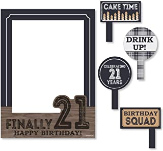 Finally 21 - Birthday Party Selfie Photo Booth Picture Frame & Props - Printed on Sturdy Material