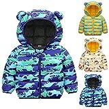 Winter Down Coats for Kids Baby Boys Girls Cute Cartoon 3D Print Bear Ear Hoods Light Puffer Padded Jacket Infant Outerwear (1#Blue, 18-24 Months)