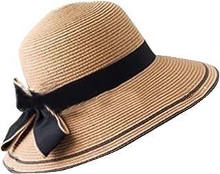 Plus Nao(プラスナオ) 麦わら帽子 ストローハット つば広ハット つば広帽子 折りたたみ レディース 女性用 リボン ツバ 9cm 7cm きれいめ