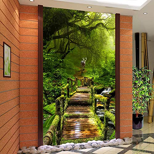 Cyalla Custom 3D Photo Wallpaper Forest Small Road 3D Living Room Entrance Hall Corridor Background Wall Mural Wall Papers Home Decor-120X100Cm