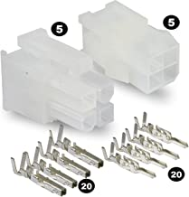 Molex Connector Lot, 5 Matched Sets, (4-Circuits) w/18-24 AWG, Pin Size: Standard .0165