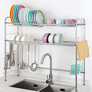 RZChome 2-Tier Stainless Steel Dish Drying Rack Nonslip Height Adjustable with Chopstick Holder (Double Sink) Deluxe Rusfproof Dish Drainers for Kitchen Counter and Drainboard set, Compact & Portable