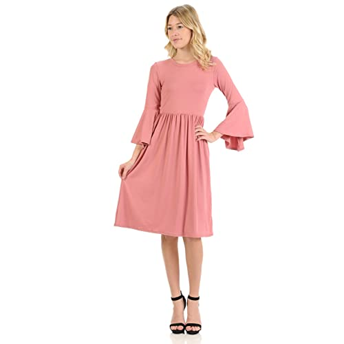 cb985a55049 iconic luxe Women s Fit and Flare Dress with Dramatic Bell Sleeve