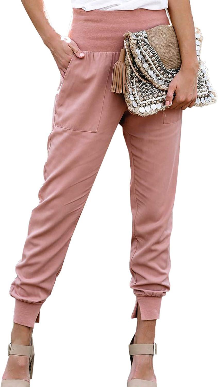 GOSOPIN Women Casual Elastic Waist Lounge Jogging Jogger Pants with Pockets