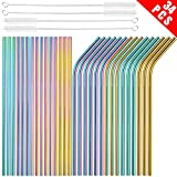 [30 PCS] Value Pack Metallic Reusable Stainless Steel Straws Combinations, Tomorotec Home Metal Straw Sets...