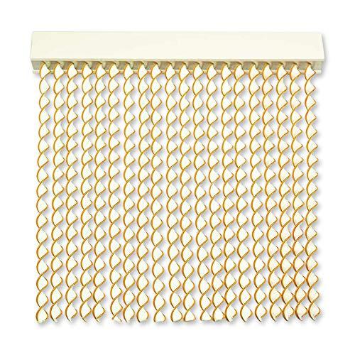 Cortinas Exterior Puerta de Cordon | 72 Tiras Plastico PVC y Barra Aluminio | Ideal para Terraza y Porche | Antimoscas | Blanco-Amarillo | 210 * 90