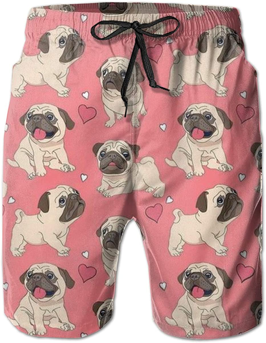 YongColer Men Summer Beach Board Shorts Swim Trunks with Pockets (Pug Dog Love Pink)