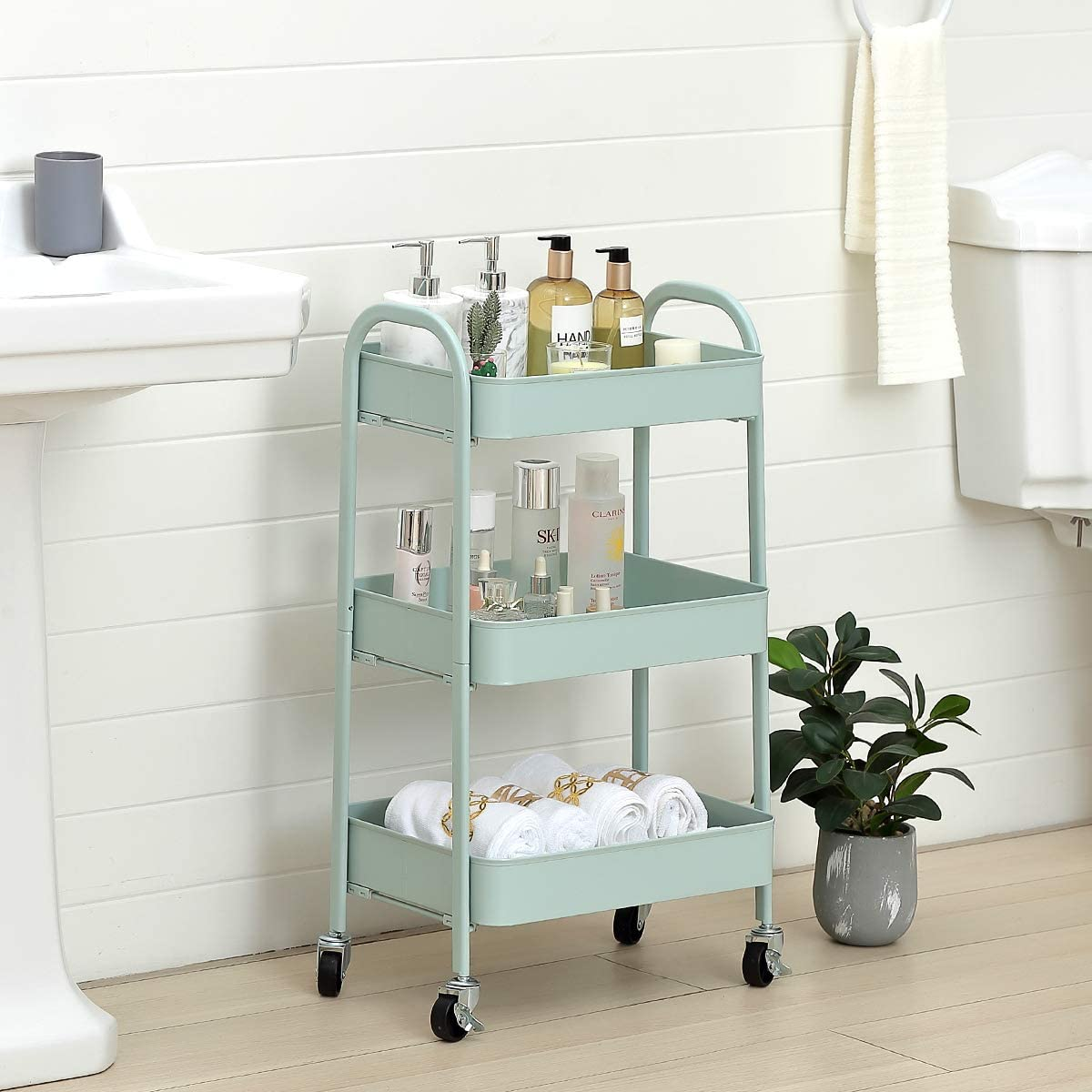White LEMONDA 3 Tier Rolling Storage Cart,Multifunctional No Screw Utility Cart,Serving Trolley Organizer Cart for Home,Kitchen,Living Room,Bathroom,Office Use