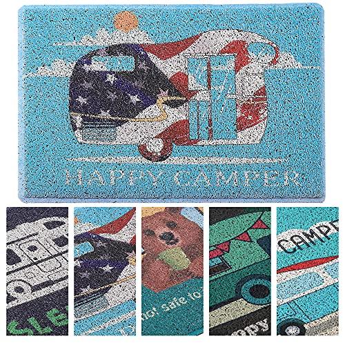 Aucuda Happy Camper Door Mat Welcome Mat for Front Door, RV,...