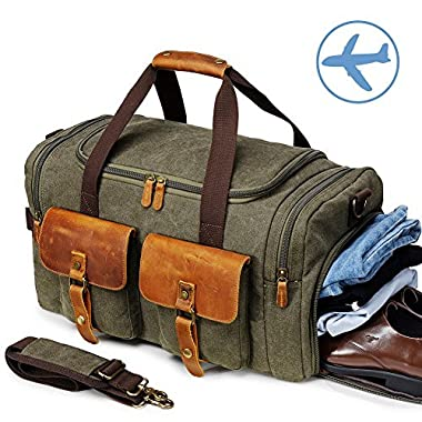 Canvas Duffle Bag Overnight Bags for Men Weekend Travel Duffel Weekender Bags for Women Canvas Leather Gym Travel Shoulder Tote Carry On Luggage Large with Shoes Compartment,College Student Gift