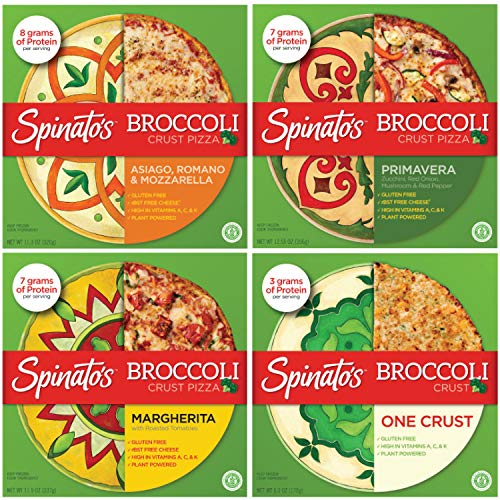 SPINATO'S Frozen Gluten Free Pizza, Healthy & Delicious, Plant Based, Broccoli Crust Pizza (10 inch - 4 Pack Variety Vegetarian)