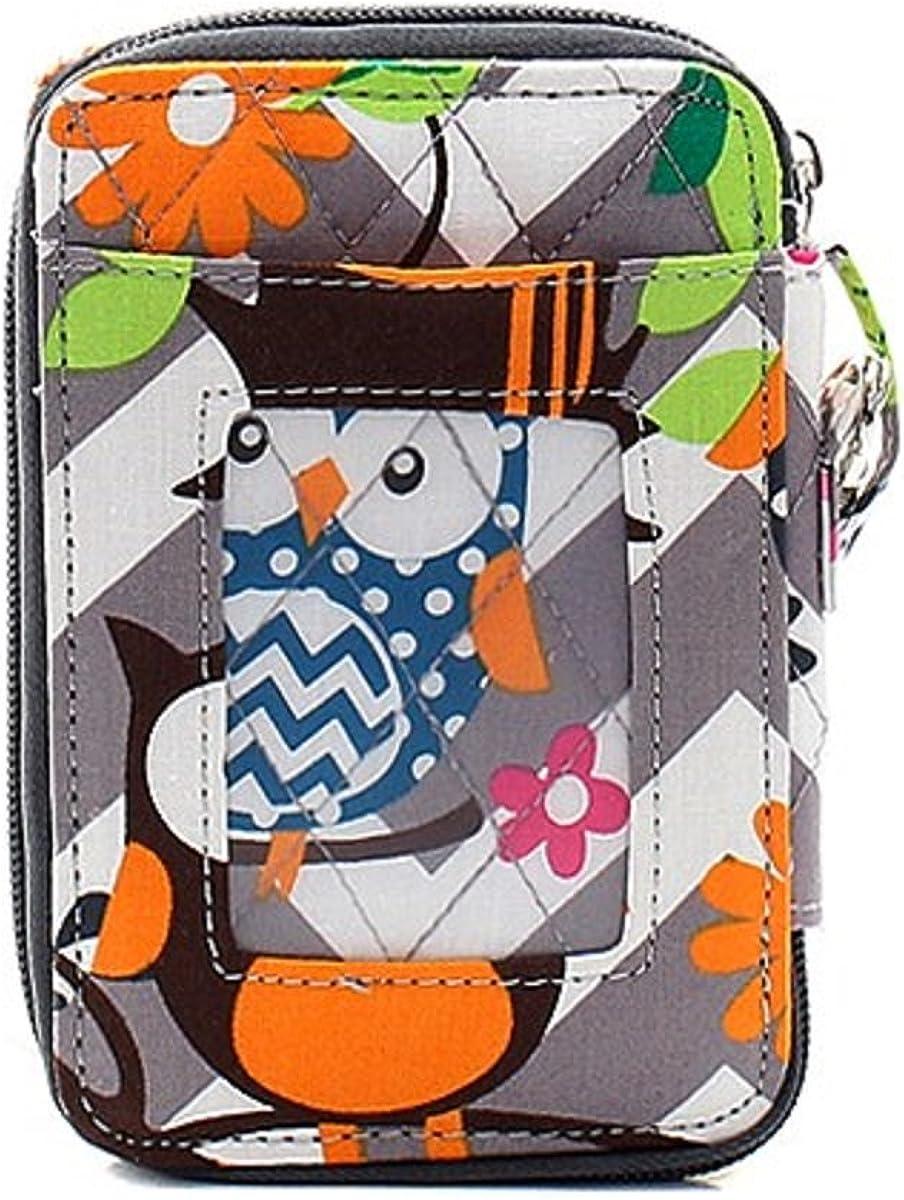 Owl Chevron Stripe Mini Cell Phone Wristlet Wallet with ID Pocket