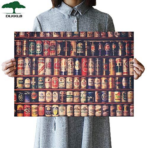 Collezione di birre in lattina retrò Adesivo da bar classico Cucina Adesivo murale poster vintage 51,5X36 cm Dipinti decorativi