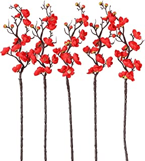 Plum Blossom Artificial Flowers 5 Pack Chinese Restaurant Decoration Flower vase Table Decoration Accessories Party Beach Theme Wedding Arrangement Decorations Red Pink Fake Flower (red)