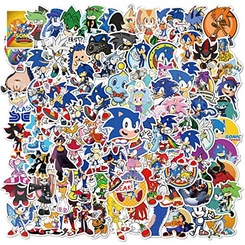 Sonic The Hedgehog Series Game Stickers 100pcs Cartoon Laptop Waterpro of Water Bottle Skateboard Decorative Stickers for Teens and Kids