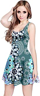 CowCow Womens Plus Size Casual Stretch Dress Summer Floral Aztec Tribal Sleeveless Dress, XS-5XL