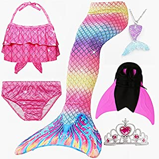 6PCS/Set Rainbow Style Mermaid Tail Swimsuit With Fin For Kids Girls Holiday Dress Costume Bathing Swimuit (Color : Deep P...
