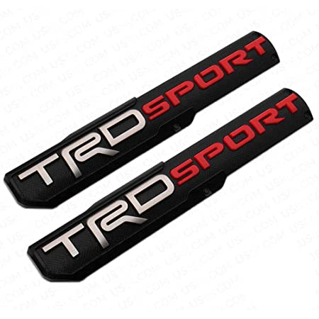 PUOU 2x Fit 3D TRD Sport Side Fender Front Door Badge Logo Nameplate Emblem Decoration (black/red-TRD Sport)