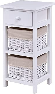 End Table Bedside Nightstand Chest Cabinet Bedroom Furniture with Drawer and Two Wicker Rattan Baskets White