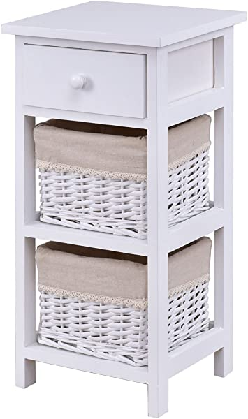 GHP 11 X10 5 X23 5 White Wood Wicker Rattan Bedside Table With 2 Rattan Baskets