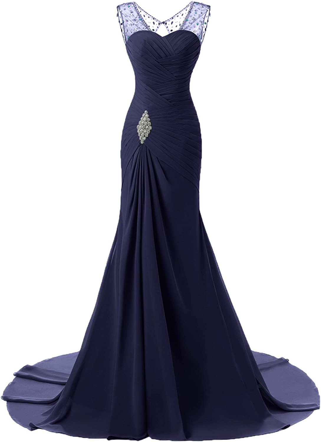 Women's Party Dress Mermaid Illusion Neck Floor Length Tulle Prom Formal Evening Dress with Beading HEdress (color   3)