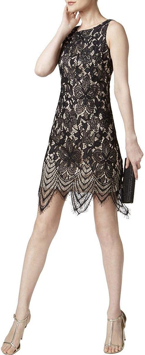Jessica Howard Women's Petite Scalloped Lace Dress (12P, Black/Tan)