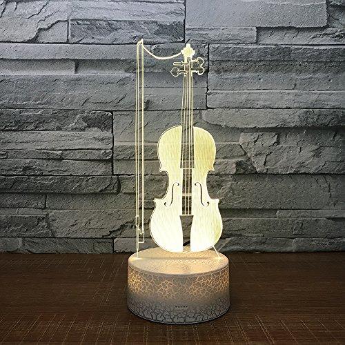 3D vioollamp, led-nachtlampje met afstandsbediening, 7 kleurwisselende touch, voor kindervakantiegeschenken en speelgoedverlichting, USB-stekker
