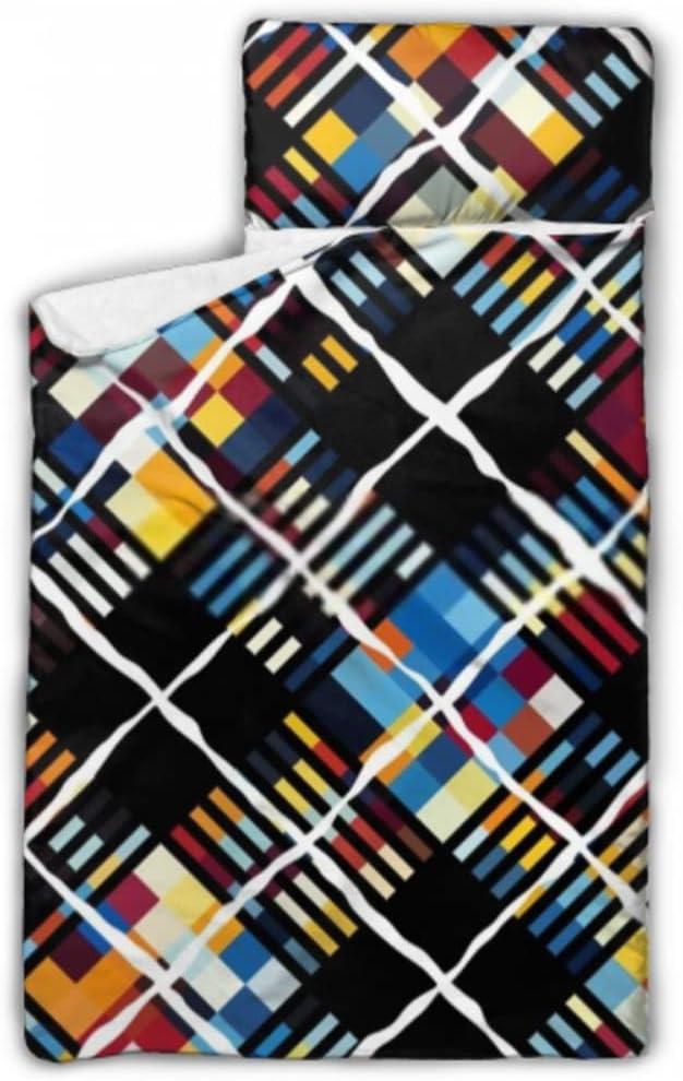 JIUCHUAN Kids Sleeping Max 53% OFF Bag Great interest Geometric Nap Mat with for Pillow Tod