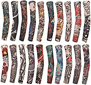 SUSHARE 20PCS Arts Fake Temporary Tattoo Arm Sleeves Crown Heart Skull Tribal Arm Sunscreen Temporary Tattoo Arm Sleeves Body Art Protector Halloween Tattoo for Men Women