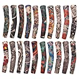 SUSHARE 20PCS Arts Fake Temporary Tattoo Arm Sleeves Crown Heart Skull Tribal Arm Sunscreen Temporary Tattoo Arm Sleeves Body Art Protector Halloween Tattoo for Men Women