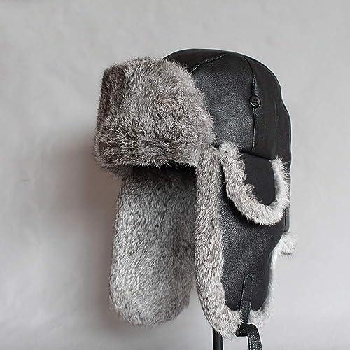 WTOKL Chapeaux Fourrure de Lapin Moutons Hommes et Femmes Hiver épais Cuir Prougeection des Oreilles Chaud Coton d'age Moyen Bonnets Casquettes,A,L